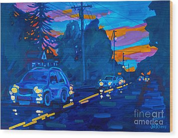 Sunset On Branch Avenue Wood Print by Michael Ciccotello