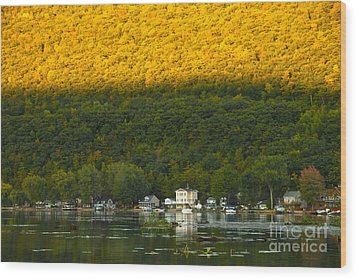 Sunset On Canandaigua Lake Wood Print by Steve Clough