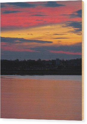 Sunset On Casco Bay Maine Wood Print by Patricia E Sundik