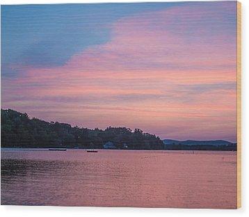 Sunset On Chickawaukee Lake Wood Print by Ernest Puglisi