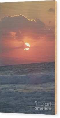 Sunset On Crete Wood Print by Diane Miller