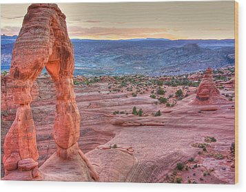 Sunset On Delicate Arch Wood Print