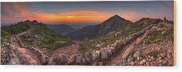 Sunset On Franconia Ridge Wood Print