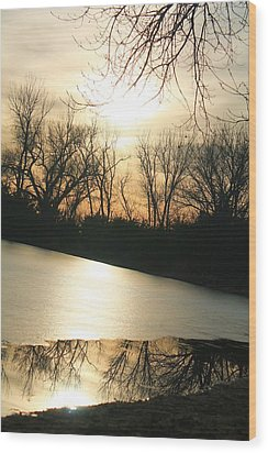 Sunset On Frozen Lake Wood Print by Alicia Knust