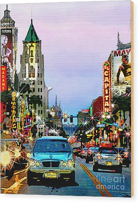 Wood Print featuring the digital art Sunset On Hollywood Blvd by Jennie Breeze