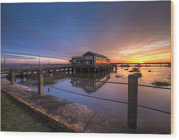 Sunset On Jekyll Island Wood Print by Debra and Dave Vanderlaan