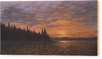 Sunset On Kayak Point Wood Print