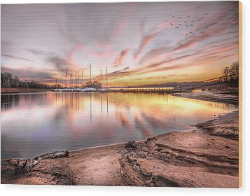 Sunset On Lake Hartwell Wood Print by Brent Craft