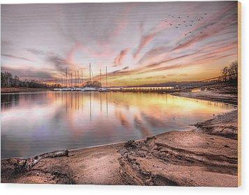 Sunset On Lake Hartwell Wood Print