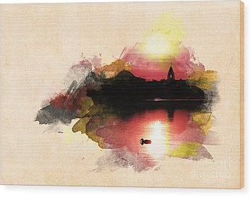 Sunset On Lake Wood Print by Martin Dzurjanik