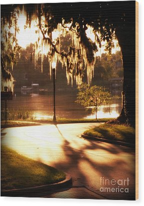 Sunset On Lake Mizell Wood Print by Valerie Reeves
