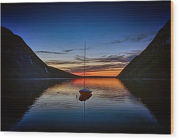 Sunset On Lake Willoughby Wood Print