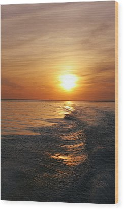 Wood Print featuring the photograph Sunset On Long Island Sound by Karen Silvestri