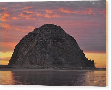 Sunset On Morro Rock Wood Print by AJ  Schibig
