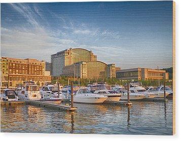Sunset On National Harbor Wood Print