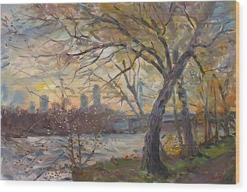 Sunset On Niagara River  Wood Print by Ylli Haruni