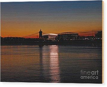 Sunset On Paul Brown Stadium Wood Print by Mary Carol Story
