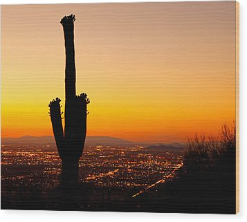 Sunset On Phoenix With Saguaro Cactus Wood Print by Susan Schmitz
