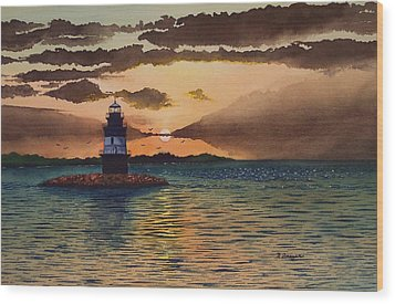 Sunset On Plum Gut Wood Print