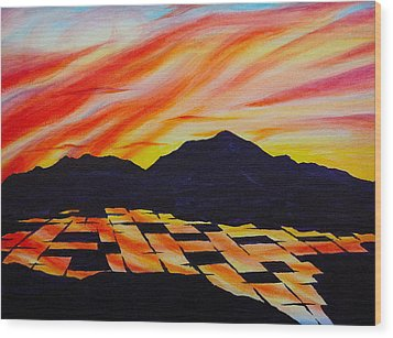 Sunset On Rice Fields Wood Print by Michele Myers