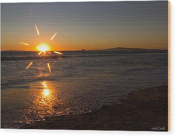 Sunset On Sunset Beach Wood Print by Heidi Smith