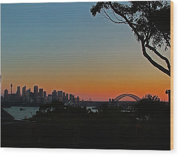 Sunset On Sydney Harbour  Wood Print by Ankya Klay
