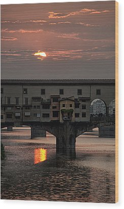Sunset On The Arno River Wood Print by Melany Sarafis