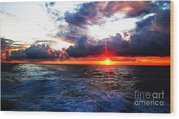 Sunset On The Atlantic Wood Print by Alison Tomich