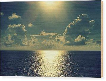 Sunset On The Atlantic Ocean Wood Print by Paulo Guimaraes