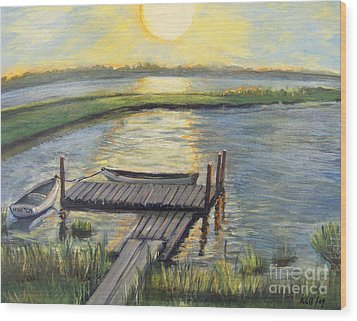 Wood Print featuring the painting Sunset On The Bay by Rita Brown