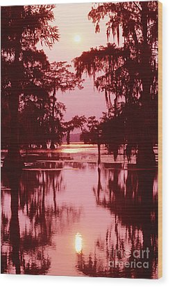 Wood Print featuring the photograph Sunset On The Bayou Atchafalaya Basin Louisiana by Dave Welling