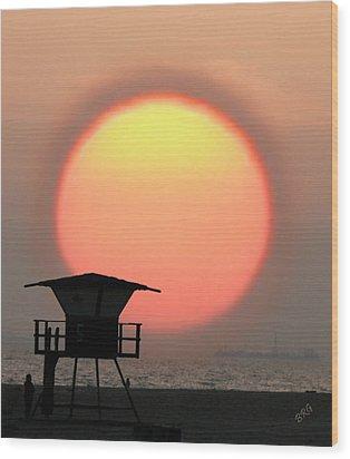 Sunset On The Beach Wood Print by Ben and Raisa Gertsberg