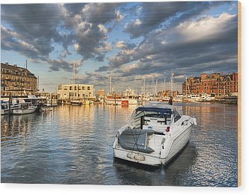 Sunset On The Boston Waterfront Wood Print by Mark E Tisdale