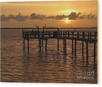 Sunset On The Dock Wood Print by Peggy Hughes