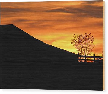 Wood Print featuring the photograph Sunset On The Farm by Greg Simmons