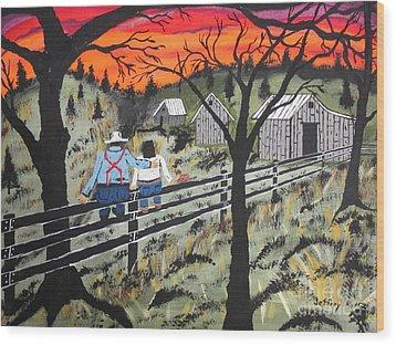 Sunset On The Fence Wood Print by Jeffrey Koss
