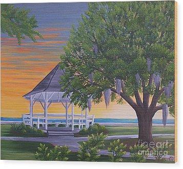 Sunset On The Gazeebo Wood Print