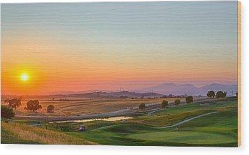 Sunset On The Greens Wood Print