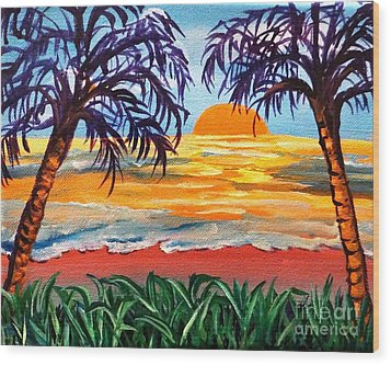 Wood Print featuring the painting Sunset On The Gulf by Ecinja Art Works