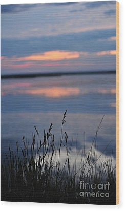 Sunset On The Lake Wood Print by Birches Photography