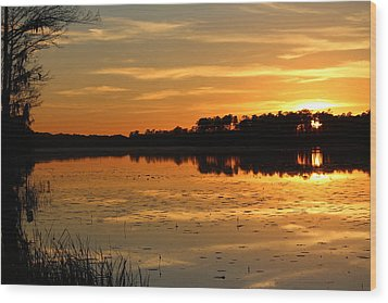 Sunset On The Lake Wood Print by Cynthia Guinn