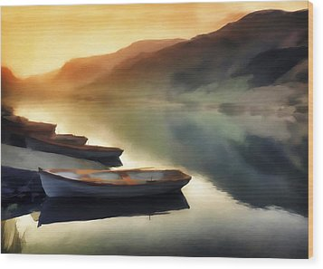 Sunset On The Lake Wood Print by David Ridley