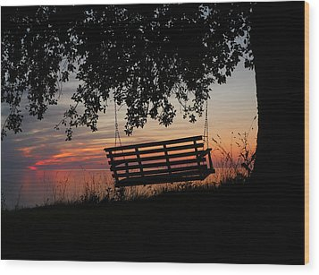 Sunset On The Lake Wood Print by Heather Allen