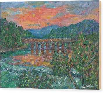 Sunset On The New River Wood Print by Kendall Kessler