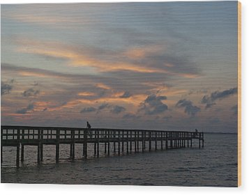 Wood Print featuring the photograph Sunset On The Pier by Judy  Johnson