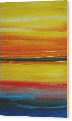 Wood Print featuring the painting Sunset On The Puget Sound by Jani Freimann