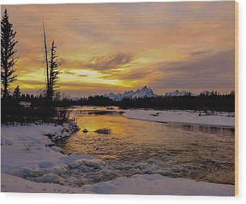 Wood Print featuring the photograph Sunset On The River by Yeates Photography
