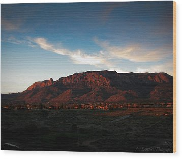 Sunset On The Sandias Wood Print