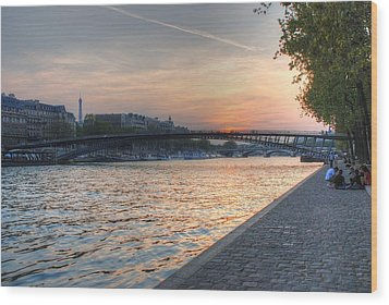 Wood Print featuring the photograph Sunset On The Seine by Jennifer Ancker