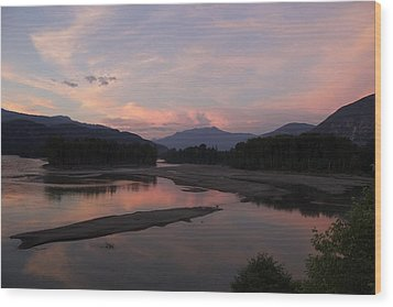 Sunset On The Skeena Wood Print by Sylvia Hart